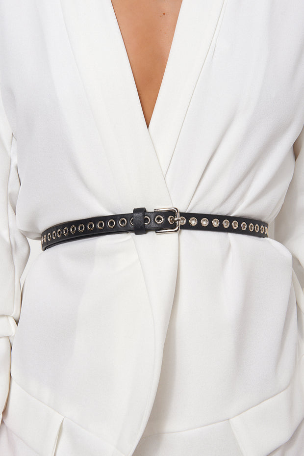 Black Skinny Rivet Belt