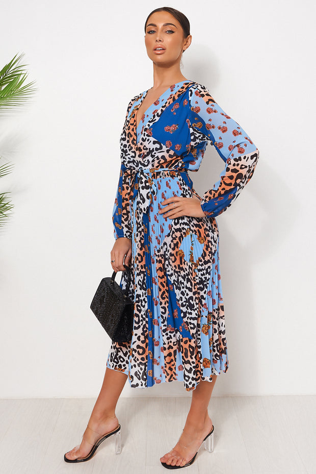 Blue Floral Leopard Print Midi Dress