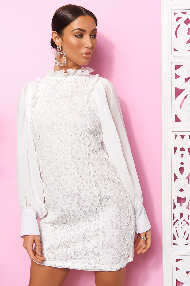 White Lace High Neck Mini Dress