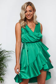Green Satin Frill Midi Dress