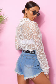 Gia White Lace Blouse