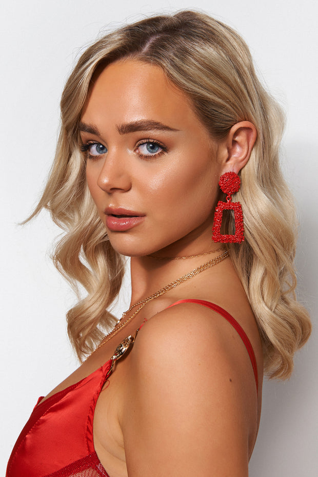 Geo Red Statement Earrings