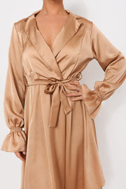 Gold Satin Long Sleeve Midi Dress