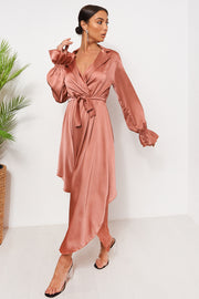 Pink Satin Long Sleeve Midi Dress