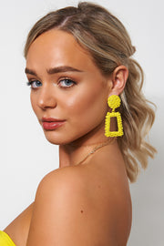 Geo Yellow Statement Earrings