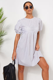 White Polka Dot Smock Dress