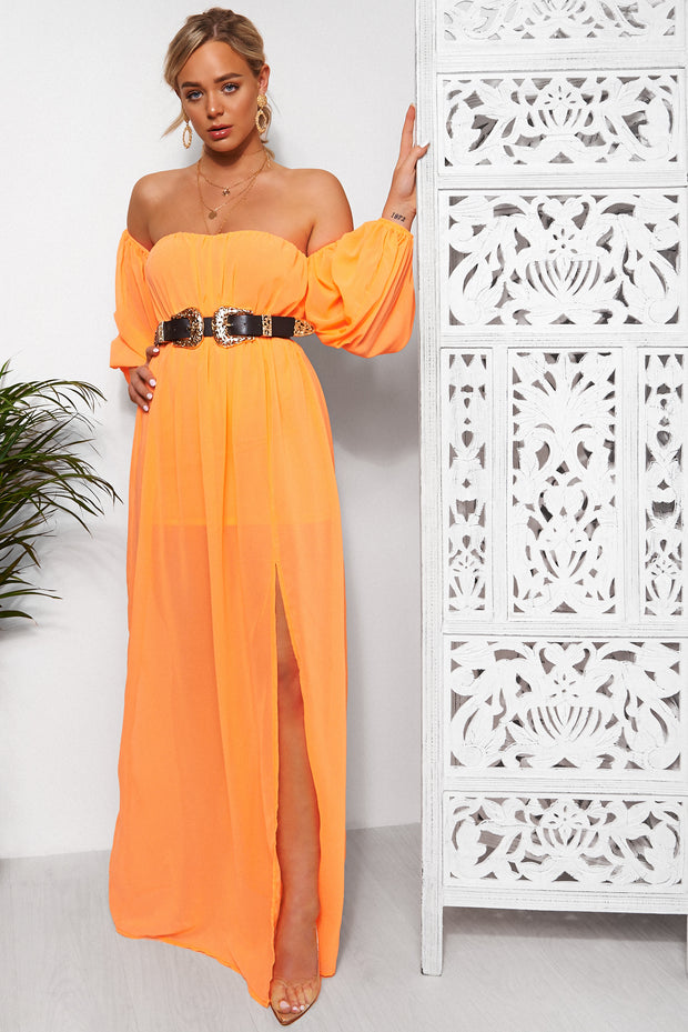 Nica Neon Orange Chiffon Maxi Dress