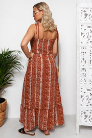 Rust Snake Print Tie Shoulder Beach Maxi Dress