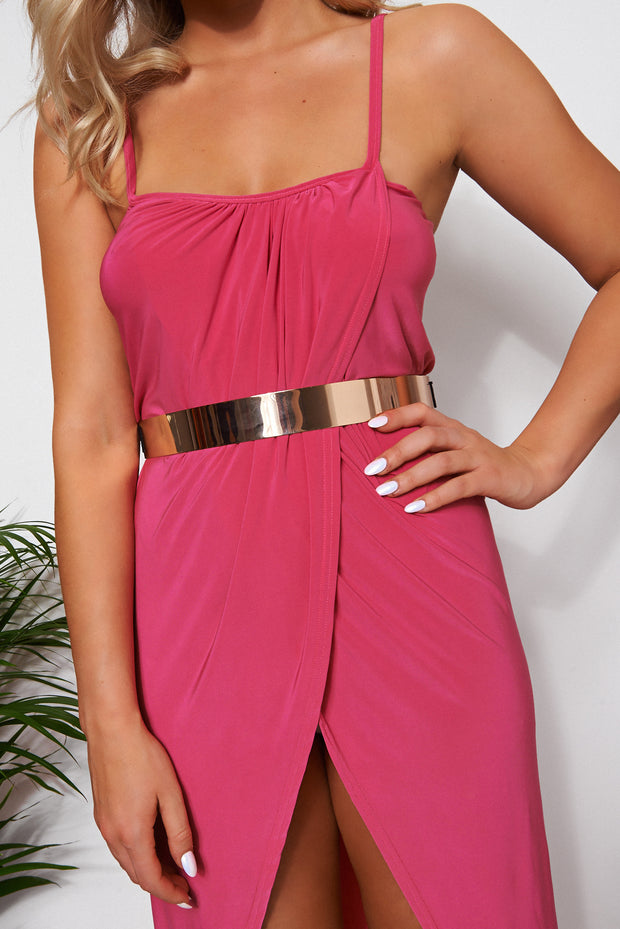 Coco Pink Wrap Front Maxi Dress