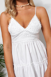 Linzi White Crochet Frill Dress