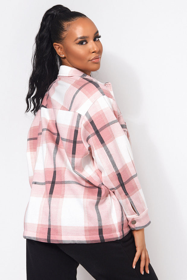 Pink Checked Shirt Jacket Shacket