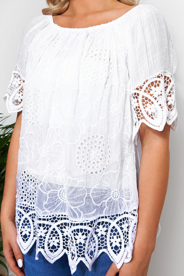 Sia White Crochet Bardot Top