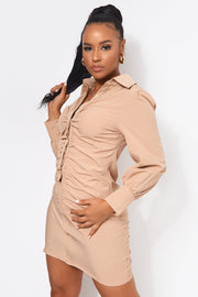 Beige Ruched Front Shirt Dress