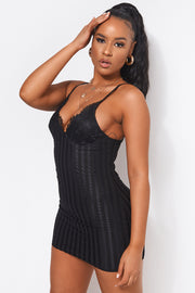 Lanika Black Lace Bodycon Mini Dress