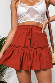 Rust Frill Mini Skirt