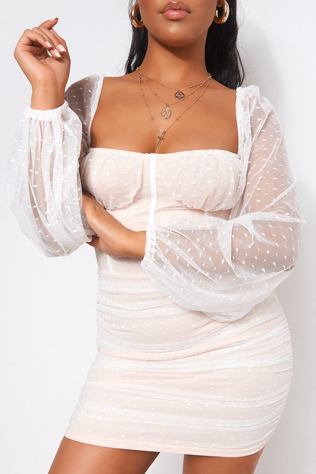Abbie White Mesh Bodycon Dress