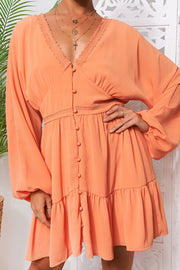 Paris Orange Chiffon Long Sleeve Shift Dress