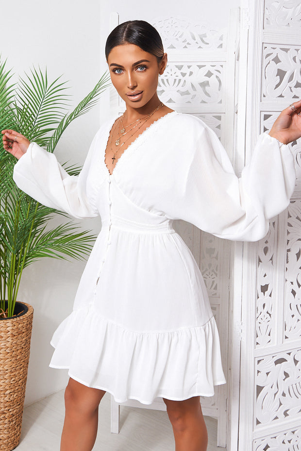 Paris White Chiffon Long Sleeve Shift Dress
