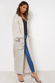 Breonna Beige Oversized Balloon Sleeve Long Knitted Maxi Cardigan