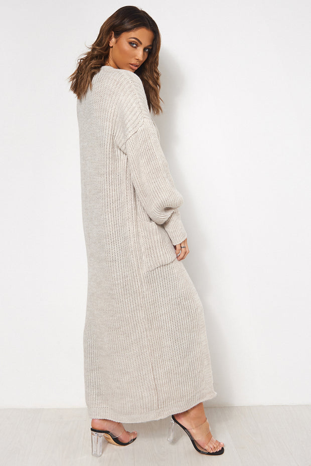 Beige Oversized Balloon Sleeve Long Knitted Maxi Cardigan