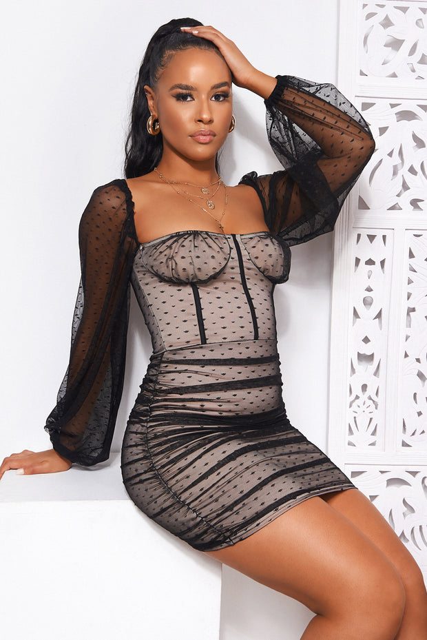 Abbie Black Mesh Bodycon Dress