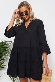 Zara Black Broderie Smock Dress