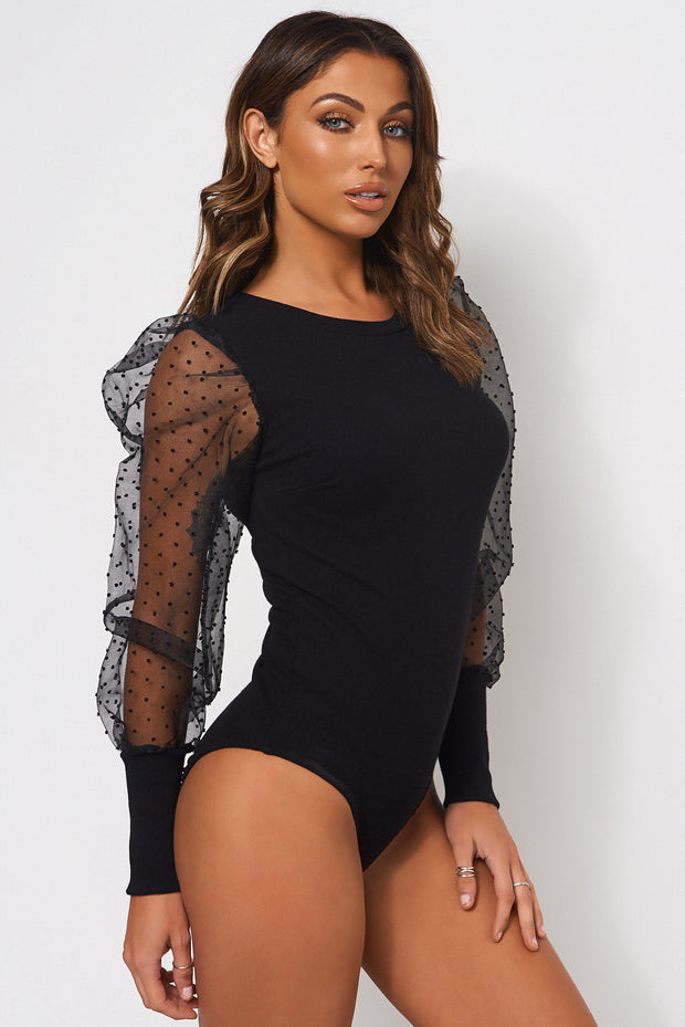 Black Dobby Sleeve Bodysuit