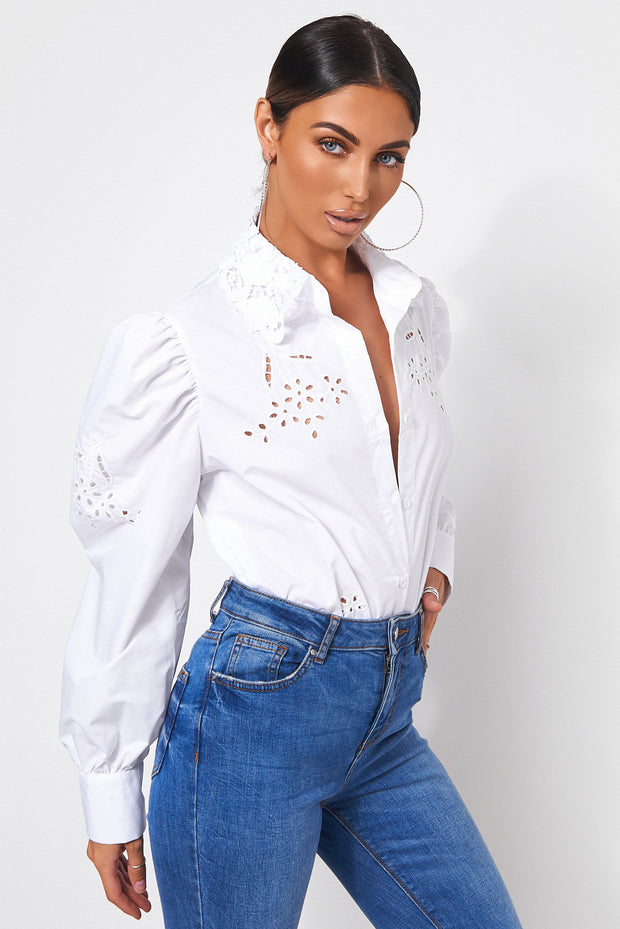 Elise White Puff Sleeve Shirt