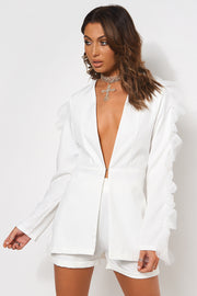 Lia White Frill Sleeve Blazer Jacket & Short Set