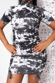 White Tie Dye Ruched Bodycon Dress
