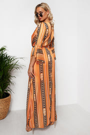 Orange Chain Print Maxi Dress