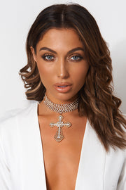 Crux Gold Diamante Cross Choker