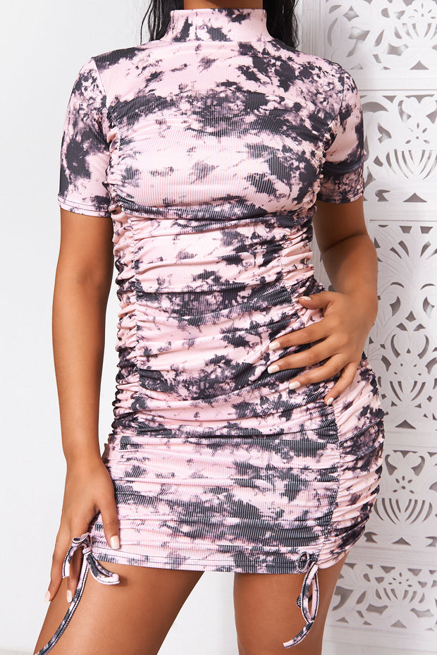 Pink Tie Dye Ruched Bodycon Dress