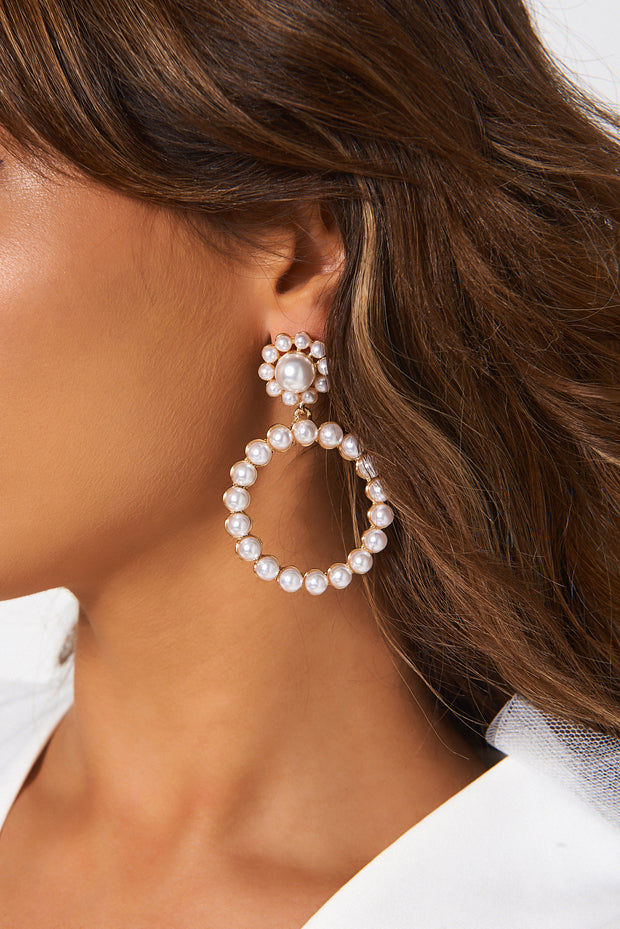 White Pearl Circle Earrings