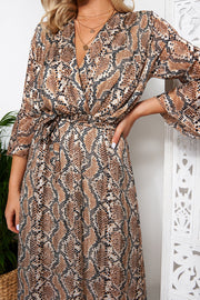 Brown Snakeskin Maxi Dress
