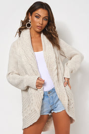 Oatmeal Chunky Knitted Cable Cardigan