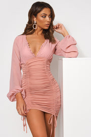 Tia Pink Chiffon Ruched Long Sleeve Bodycon Dress