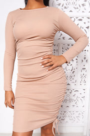 Tess Camel Midi Bodycon Dress