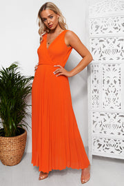 Naomi Orange Pleated Maxi Dress