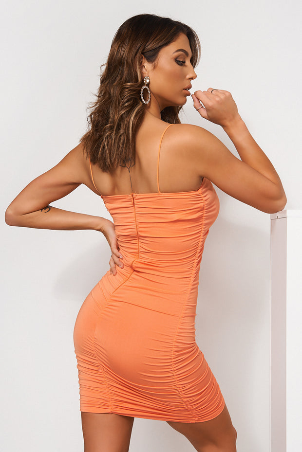 Jena Orange Ruched Bodycon Dress