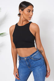 Black Ribbed Vest Top