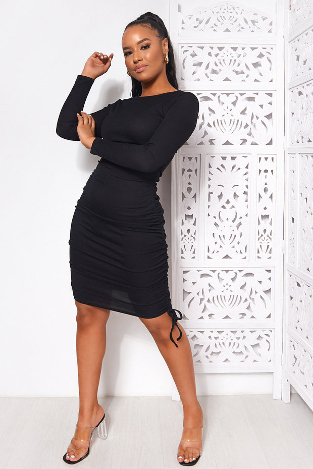 Tess Black Midi Bodycon Dress