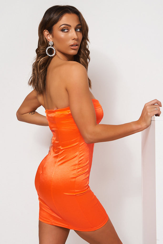 Neon Orange Satin Bodycon Dress