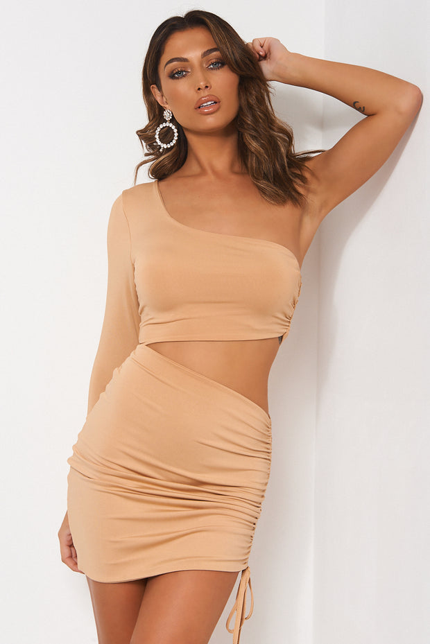 Valencia One Shoulder Camel Bodycon Dress