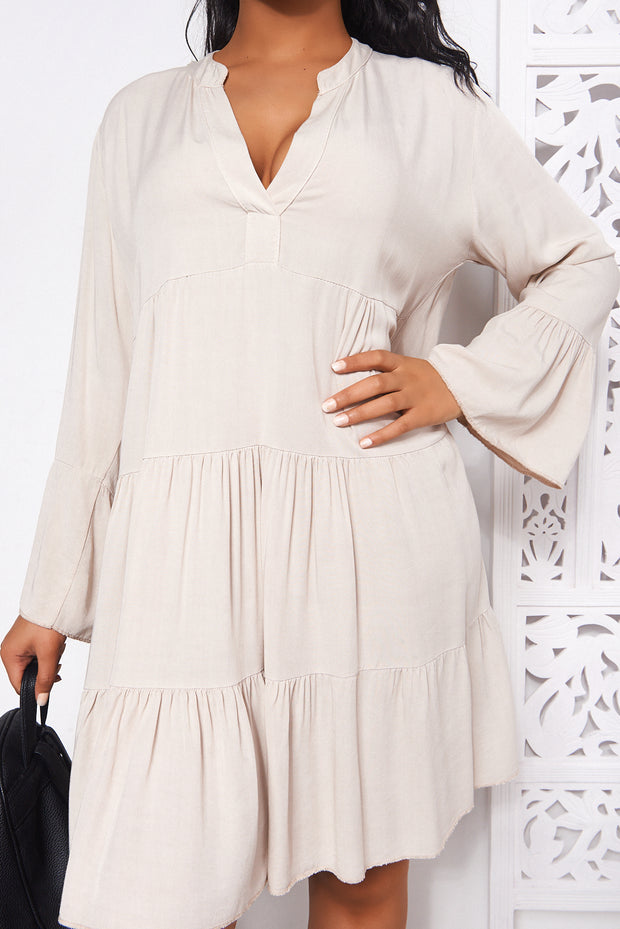 Beige Long Sleeve Smock Dress