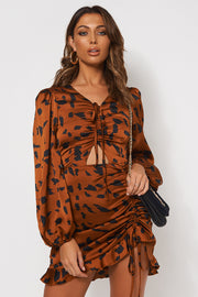 Cleo Leopard Print Ruched Bodycon Dress