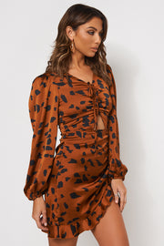 Cleo Tiger Print Ruched Shift Dress