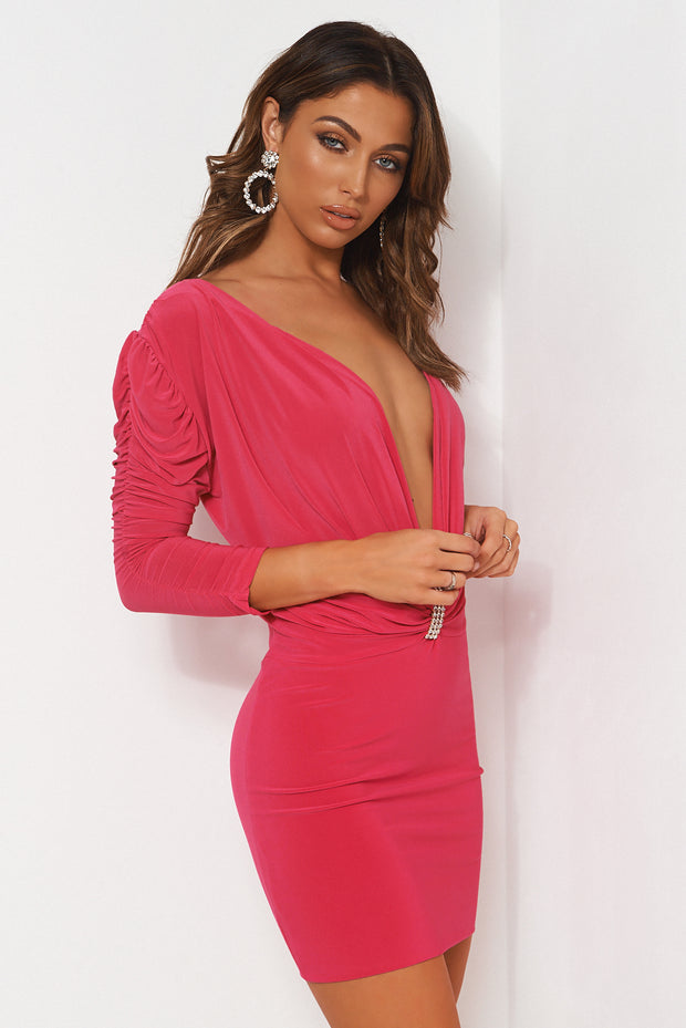Tia Pink Embellished Bodycon Dress