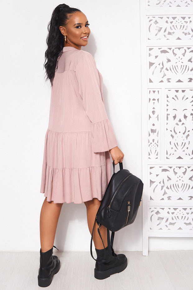 Polly Nude Pink Long Sleeve Smock Dress