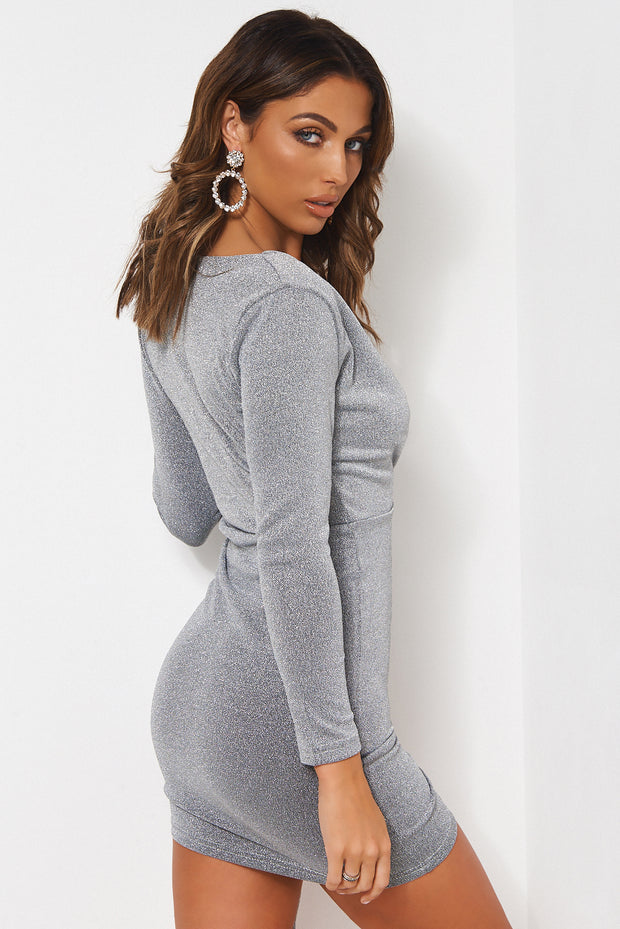 Silver Ruched Bodycon Dress